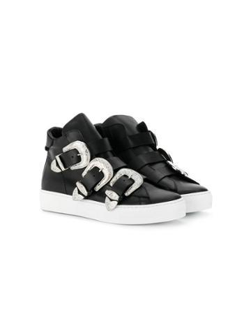 Dsquared2 Kids Teen Hi-top Sneakers With Side Buckles - Black