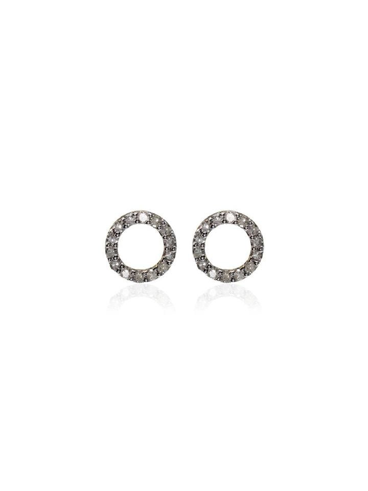 Mateo 14k Yellow Gold Pavé Diamond Stud Circle Earrings - 107 -