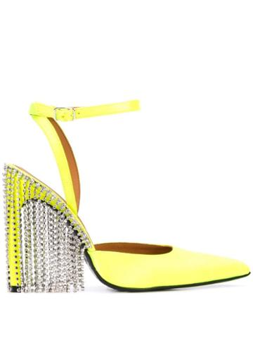 Area Crystal Fringed Pumps - Yellow