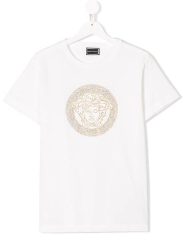 Young Versace Teen Rhinestone Medusa T-shirt - White