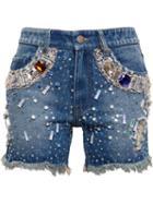 Ashish Embellished Denim Shorts