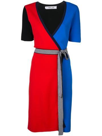 Dvf Diane Von Furstenberg Colour-block Wrap Dress - Blue