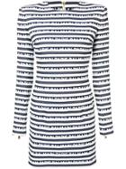Balmain Logo Stripe Dress - White