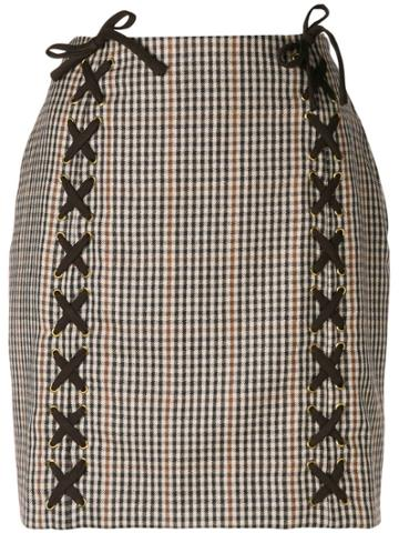 Moschino Vintage Lace-up Details Checked Skirt - Nude & Neutrals