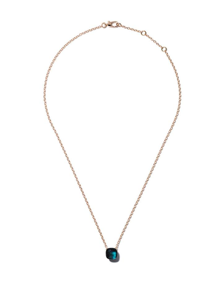 Pomellato 18kt Rose & White Gold Nudo Blue Topaz Pendant Necklace -