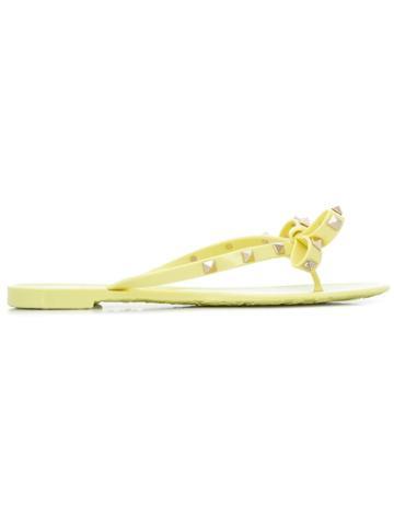 Valentino Valentino Garavani Rockstud Bow Flip Flops - Yellow
