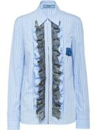 Prada Striped Ruffled Shirt - Blue