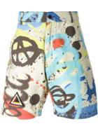 Ktz Graffiti Print Shorts, Men's, Size: Medium, Cotton