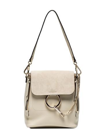 Chloé Off White Faye Medium Leather Backpack
