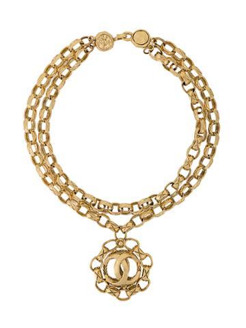 Chanel Vintage Chunky Chain Logo Necklace - Metallic