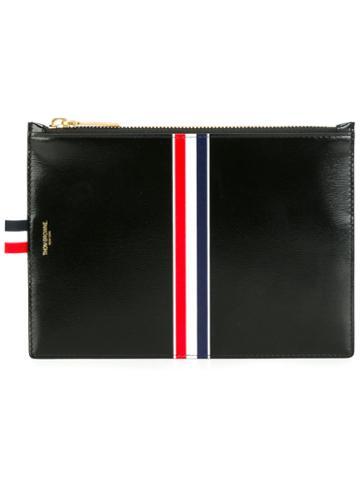 Thom Browne Striped Clutch, Men's, Black, Calf Leather