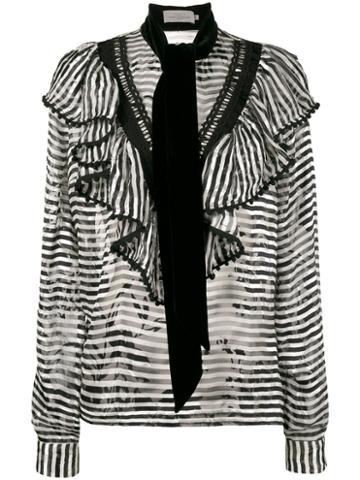 Preen By Thornton Bregazzi - Phillipa Scarf Detail Striped Blouse - Women - Silk/viscose - M, Black, Silk/viscose