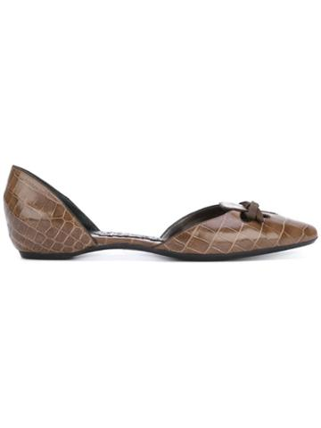 Giorgio Armani Pre-owned Bow Detail Ballerina Flats - Brown