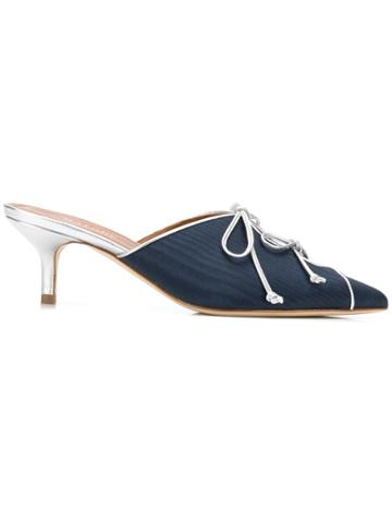 Malone Souliers By Roy Luwolt Victoria Moire Bow-detail Mules - Blue