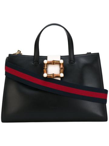 Gucci - Bamboo Buckle Tote Bag - Women - Wood/leather/suede/metal - One Size, Black, Wood/leather/suede/metal