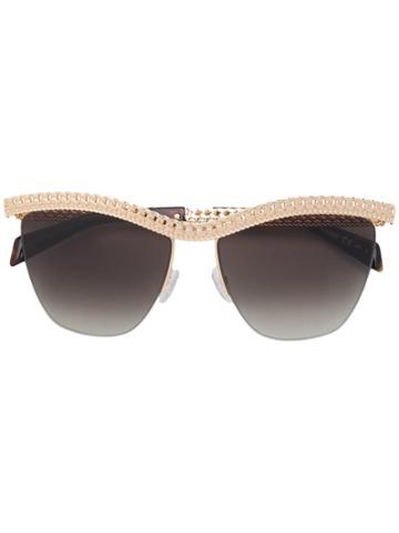 Moschino Eyewear Chain Frame Sunglasses - Gold