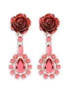 Prada Rose Drop Earrings - Pink