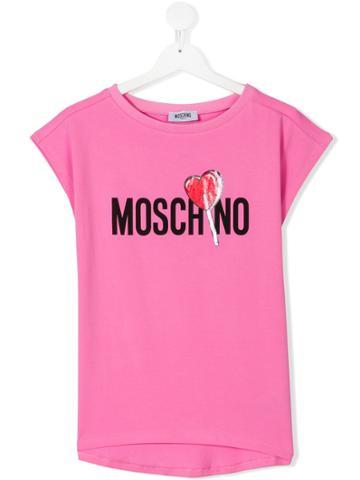 Moschino Kids Logo And Heart Lollipop Print Top - Pink & Purple