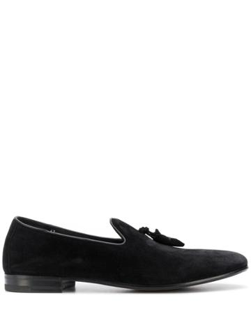 Henderson Baracco Fringe Strap Detail Loafers - Black