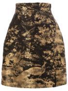 Oscar De La Renta Floral Brocade Skirt