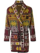 Nuur Long Patterned Cardigan - Red