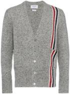 Thom Browne Intarsia Stripe Mohair Cardigan - Grey