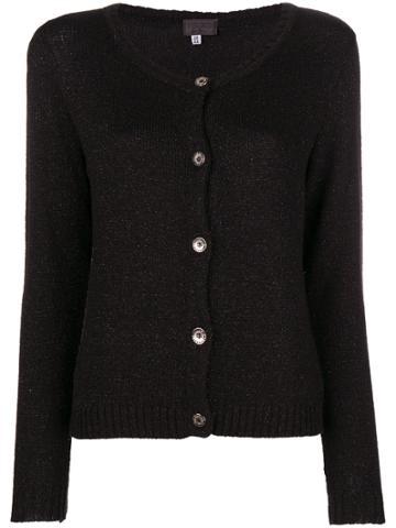 Versus Vintage Metallic Knit Cardigan - Black