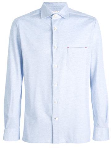 Kiton - Piqué Shirt - Men - Cotton - M, Blue, Cotton