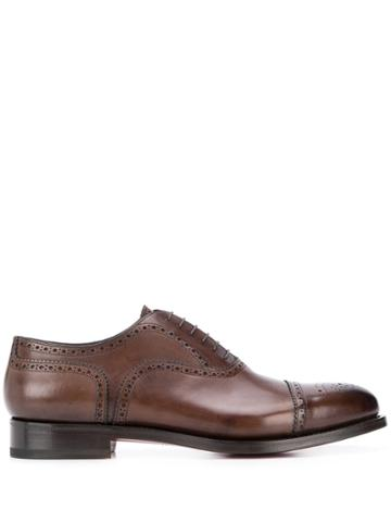 Santoni Perforated Low-heel Oxford Shoes - Brown