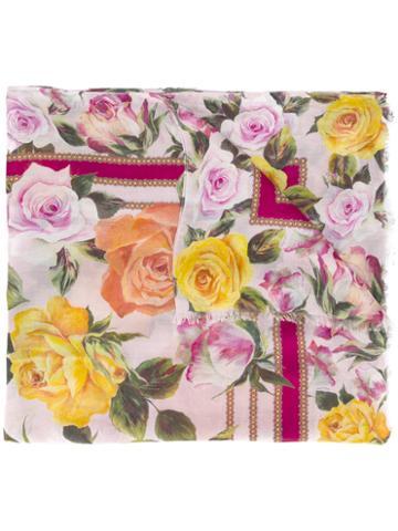 Dolce & Gabbana Floral Print Scarf, Women's, Modal/cashmere