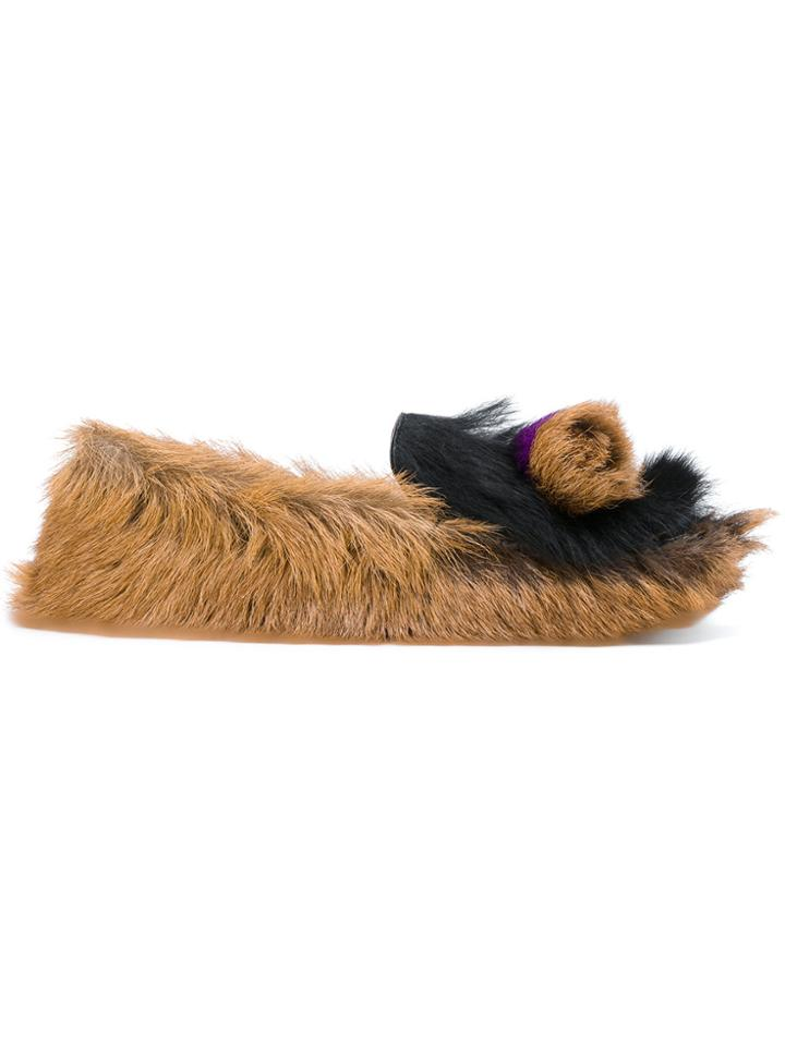 Prada Furry Slippers - Brown