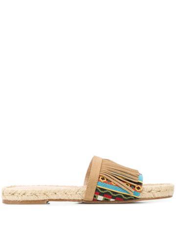 Solange Sandals Fringed Slides - Neutrals