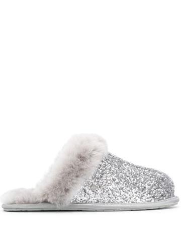Ugg Australia Glitter Embellished Slides - Silver