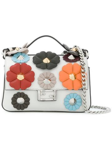 Fendi - Embellished Leather Micro Double Baguette Shoulder Bag - Women - Leather/metal - One Size, White, Leather/metal