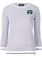 Rochas Embroidered Striped Top - White