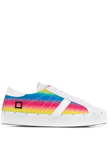 D.a.t.e. Rainbow Stripe Sneakers - White
