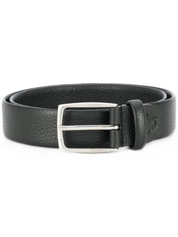 Canali Textured Leather Belt - Black