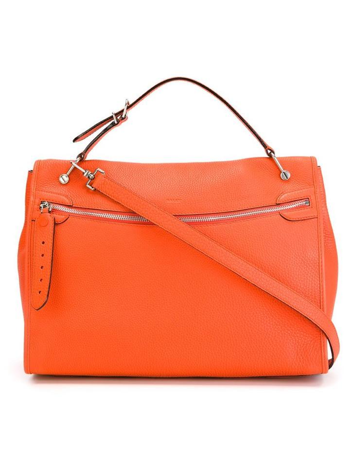 Bally Front Zip Tote, Women's, Yellow/orange, Leather