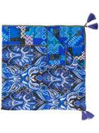 Etro Patterned Tassel Scarf - Blue