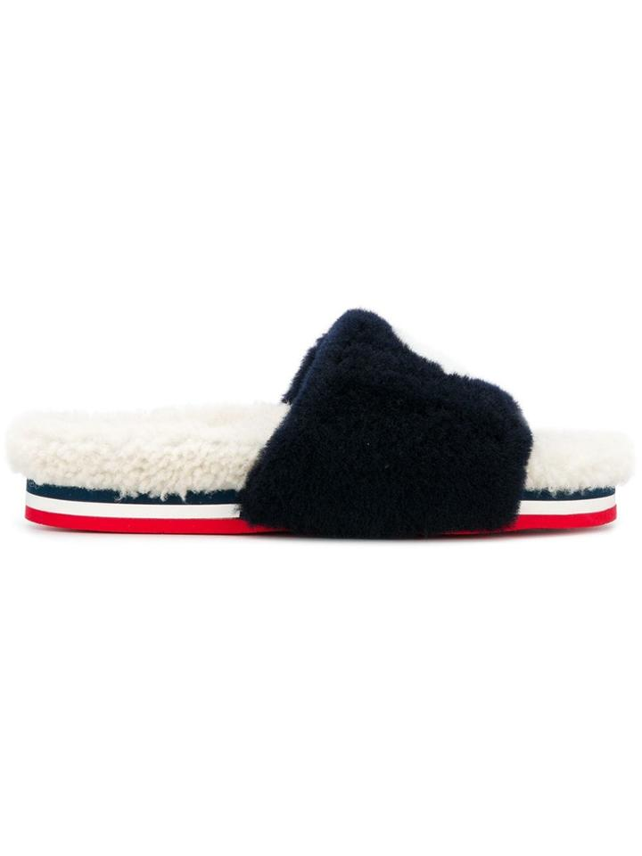Moncler Furry Slippers - Blue