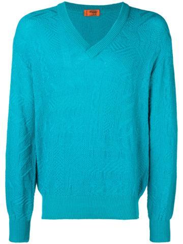 Missoni Vintage Patterned Knit Jumper - Blue