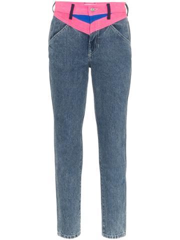 Jordache Contrast Insert Straight-leg Jeans - Blue