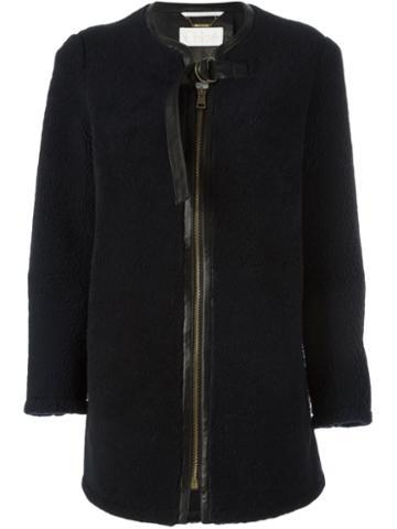 Chloé Shearling Collarless Coat