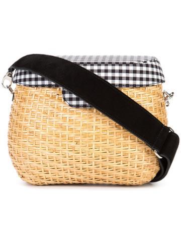 Edie Parker - Jane Gingham Crossbody Bag - Women - Cotton/straw - One Size, Brown, Cotton/straw