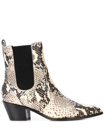 Paige Willa Snakeskin Effect Boots - White