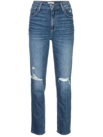 Paige Distressed Straight Leg Jeans - Blue