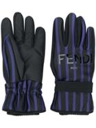 Fendi Striped Gloves - Black