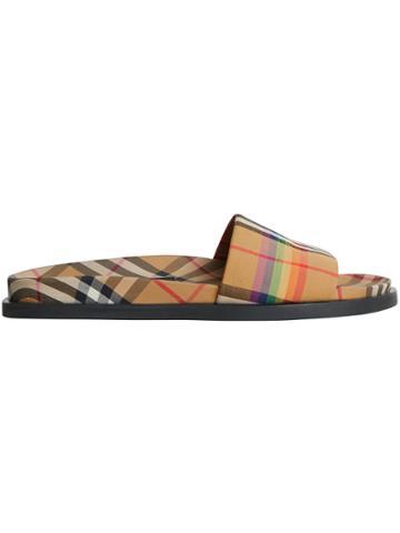 Burberry Rainbow Vintage Check Slides - Brown