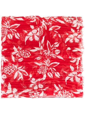 Saint Laurent Hawaiian Print Scarf, Men's, Red, Cashmere/silk