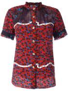 Coach Floral Print Shortsleeved Shirt, Women's, Size: 2, Red, Silk